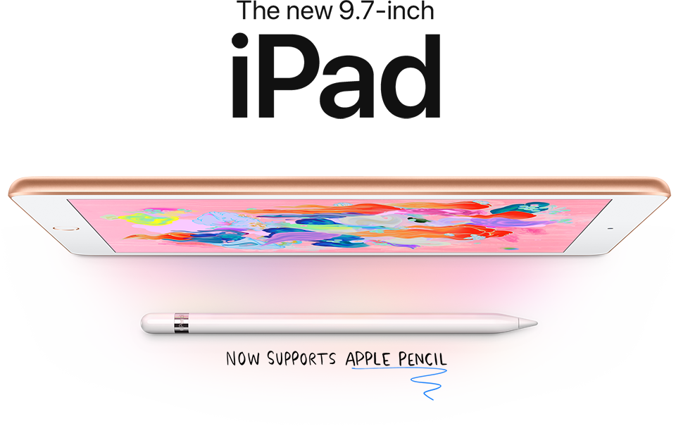 The new 9.7-inch iPad. Now supports Apple Pencil.