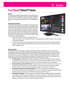 TVision Home Fact Sheet