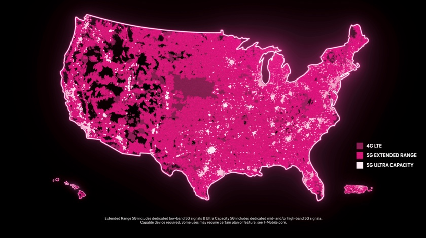A map of the United States using two shades of magenta to demonstrate the expansive 4G LTE and 5G coverage