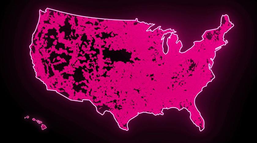Mapa de los EE. UU. casi cubierto de color magenta para indicar la amplia cobertura 5G