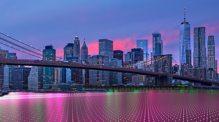 Blue-tinted skyline with an overlay of magenta lines