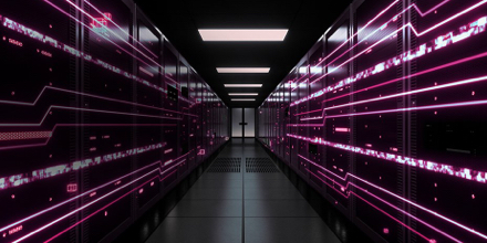 Server room lit up with magenta lights