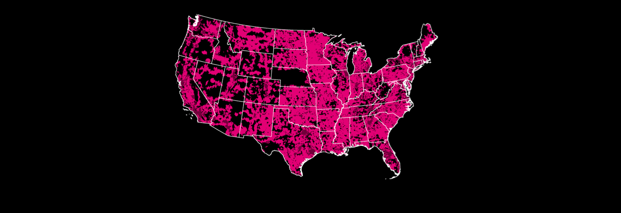 Mapa de cobertura de la red T-Mobile