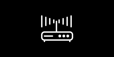 Icon of a modem emitting a powerful WiFi signal.