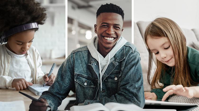Collage de tres estudiantes haciendo tareas escolares solos