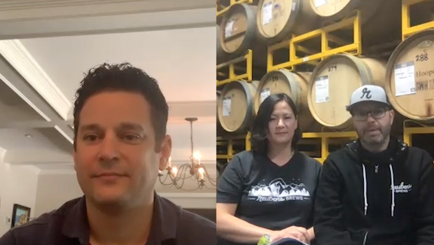 Split screen of a middle-aged man video chatting with a man and woman who work in a brewery.