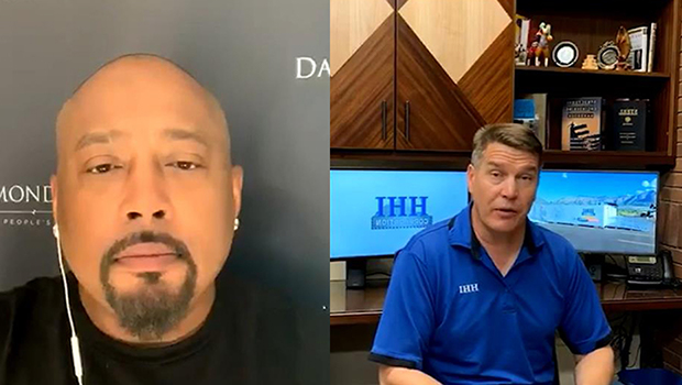 Split screen Daymond in a black T-shirt video chatting with a middle-aged man in his telehealth office