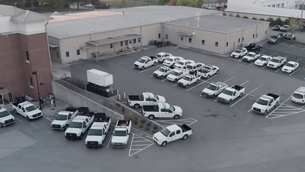 Aerial view of pickup trucks in parking lot