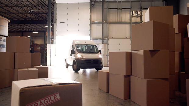 Van inside warehouse