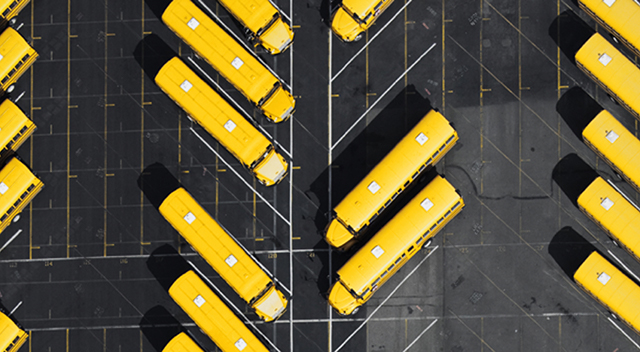 Overhead view of school buses in a parking lot.