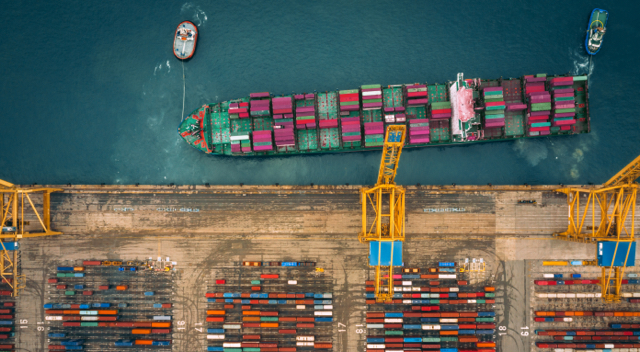 Overhead shot of a full shipping vessel