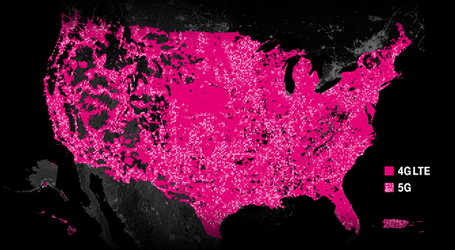 A map of the United States using two shades of magenta to demonstrate the expansive 4G LTE and 5G coverage.