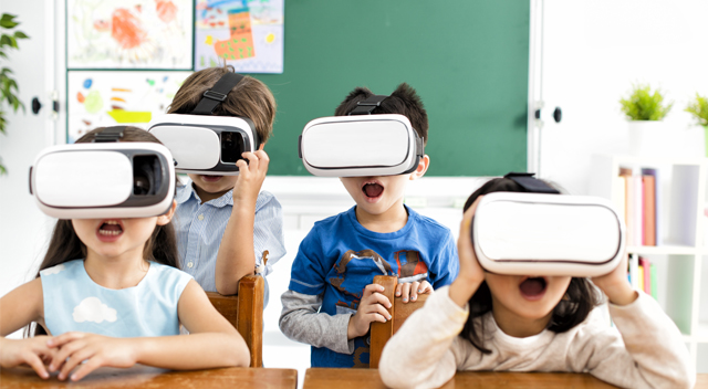 Children using VR headsets