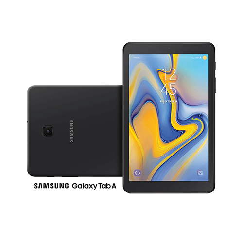Dos dispositivos Galaxy Tab A, uno mostrando la pantalla y el otro la parte posterior.