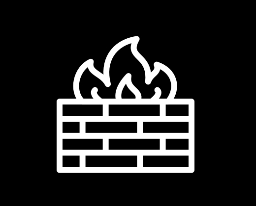 Icon of a brick wall with flames on top.