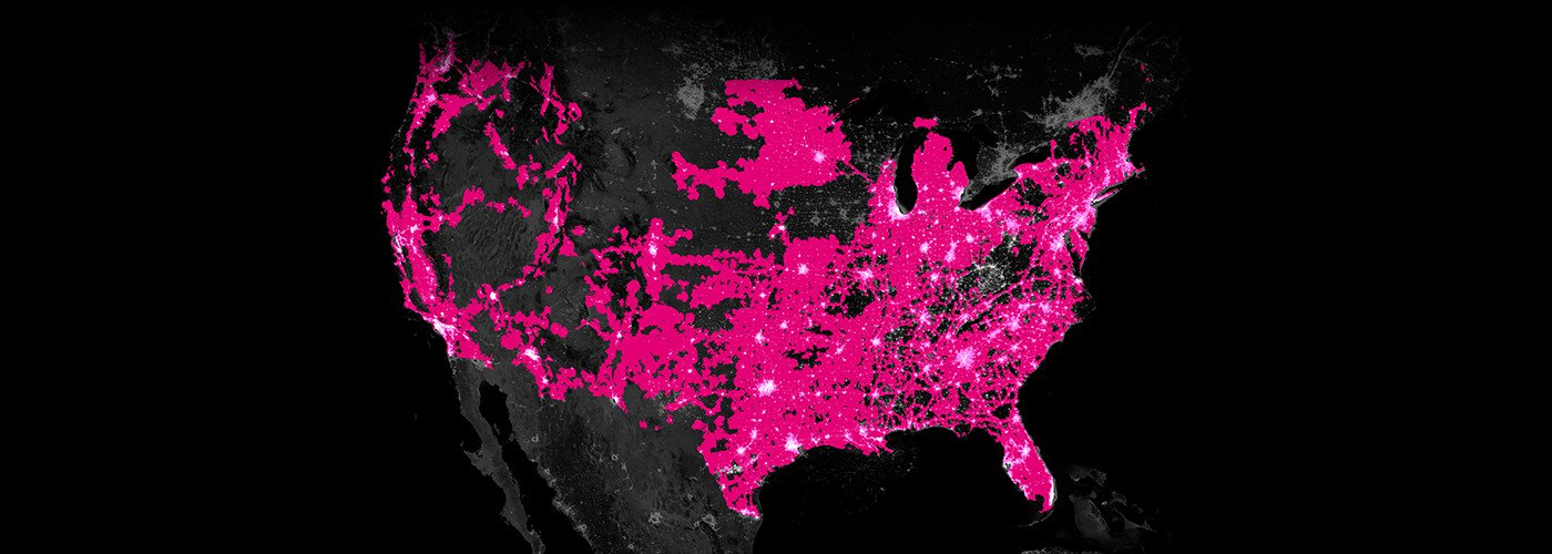 Slider map of the United States of America showing the difference in T-Mobile coverage between 2015 versus 2018.