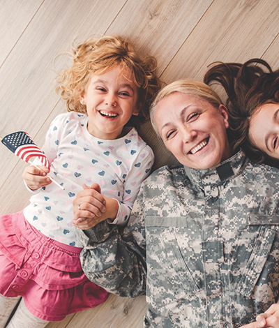 Soldier mom with daughters