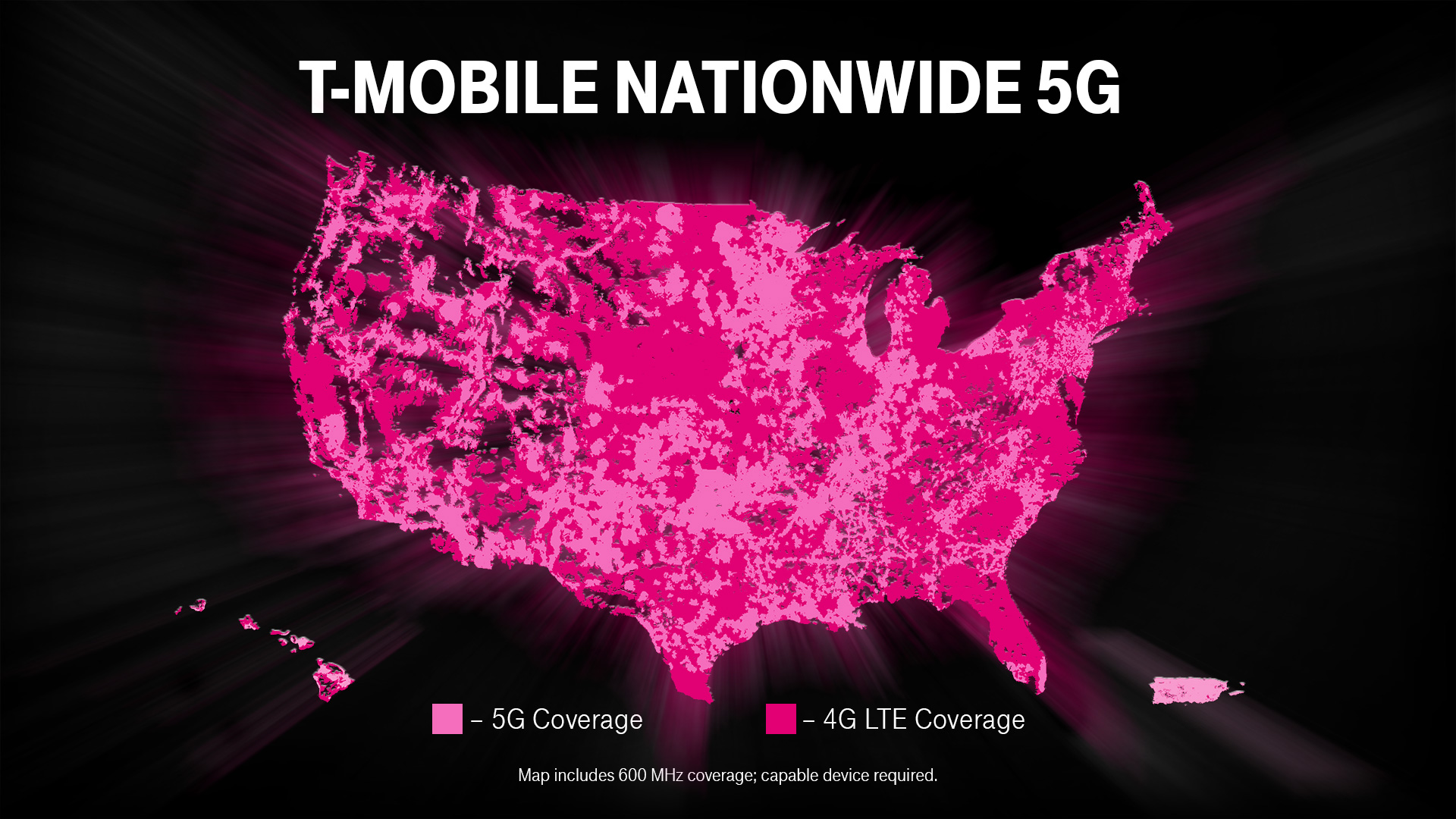 T Mobile Us Coverage Map T‑Mobile 5G: It's On! America's First Nationwide 5G Network Is