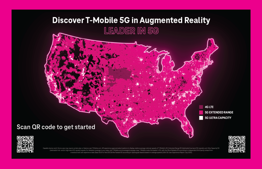 T-Mobile's 5G Network Coverage Map, showcasing their Extended Range and Ultra Capacity 5G across the country. Scan QR code to get started.