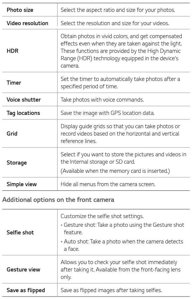 Camera Gallery Lg K30 T Mobile Support